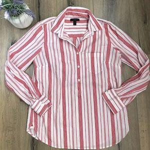 J Crew Classic Stripe Popover Shirt Red White sz 4